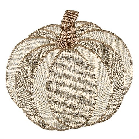 Beaded Pumpkin - Beaded Pumpkin Placemat in White (Set of 5)