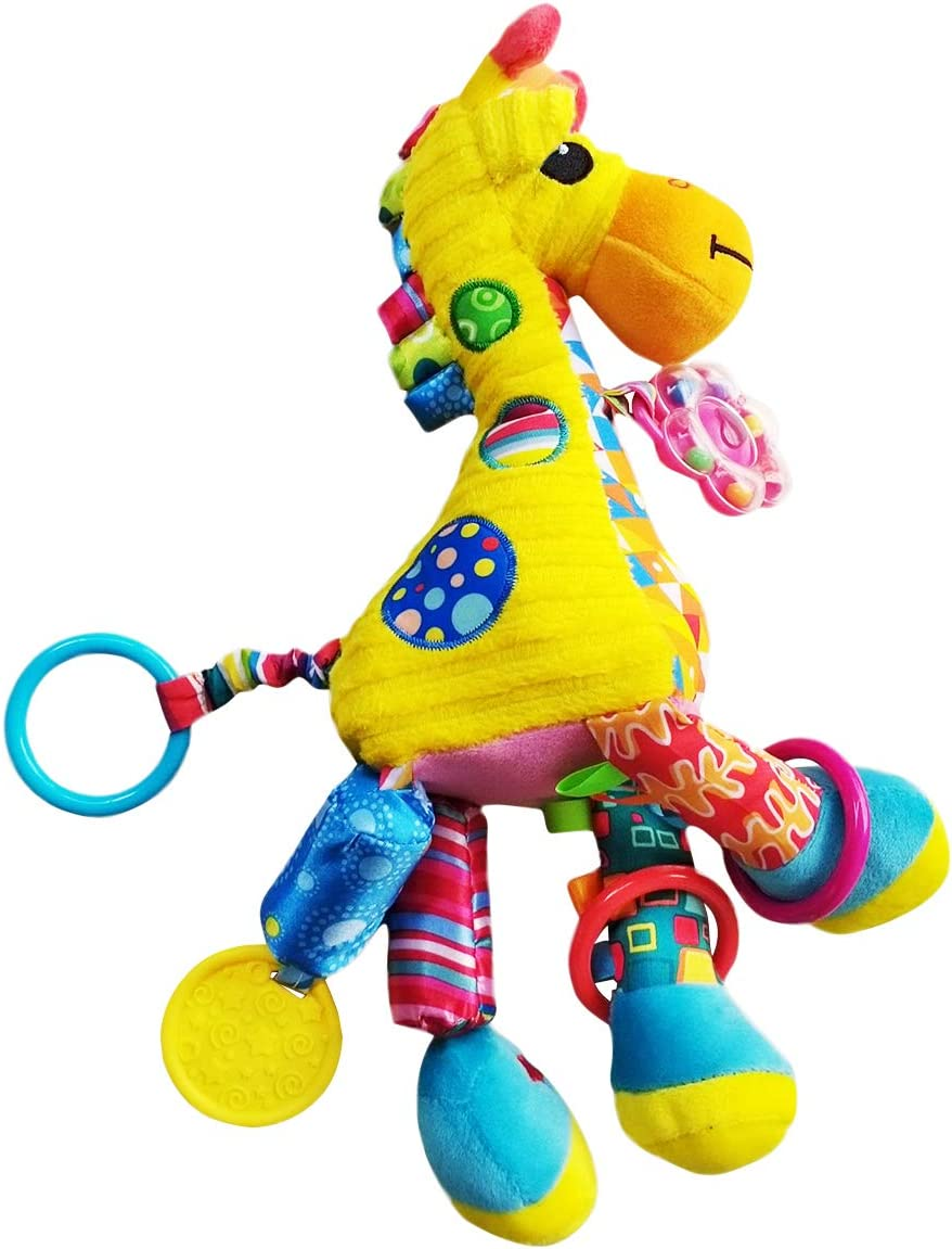 Animal Stroller Toy Pull Bell Pendant Toys Kids Hanging Toy for Crib with Rattle Ring ELEOPTION Baby Hanging Toys Plush Toy for Toddlers Baby Girls Baby Boys Cow
