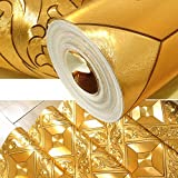 QIHANG Luxury Gold Foil Mosaic Square Lattice Background Flicker Wallpaper Gold Leaf Wallpaper Modern Roll/hotel Ceiling/decorative Wallpaper Roll Gold Yellow Color 1.73' W x 32.8' L=57 sq.ft