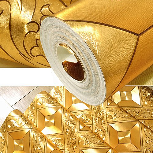 QIHANG Luxury Gold Foil Mosaic Square Lattice Background Flicker Wallpaper Gold Leaf Wallpaper Modern Roll/hotel Ceiling/decorative Wallpaper Roll Gold Yellow Color 1.73' W x 32.8' L=57 sq.ft by QIHANG