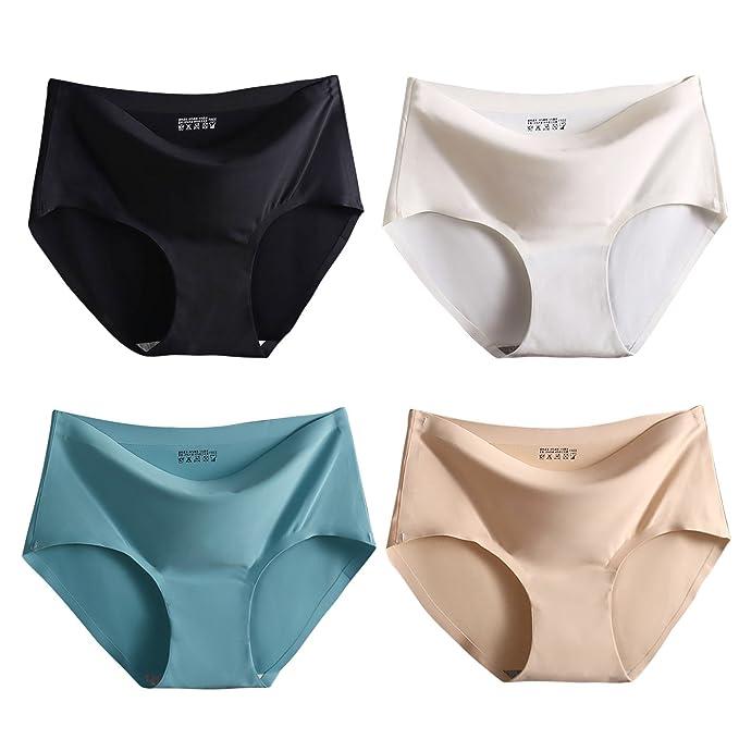 Pack de 3/4 Braguita Mujer sin Costuras Ropa Interior Slip Invisible de Cintura Media