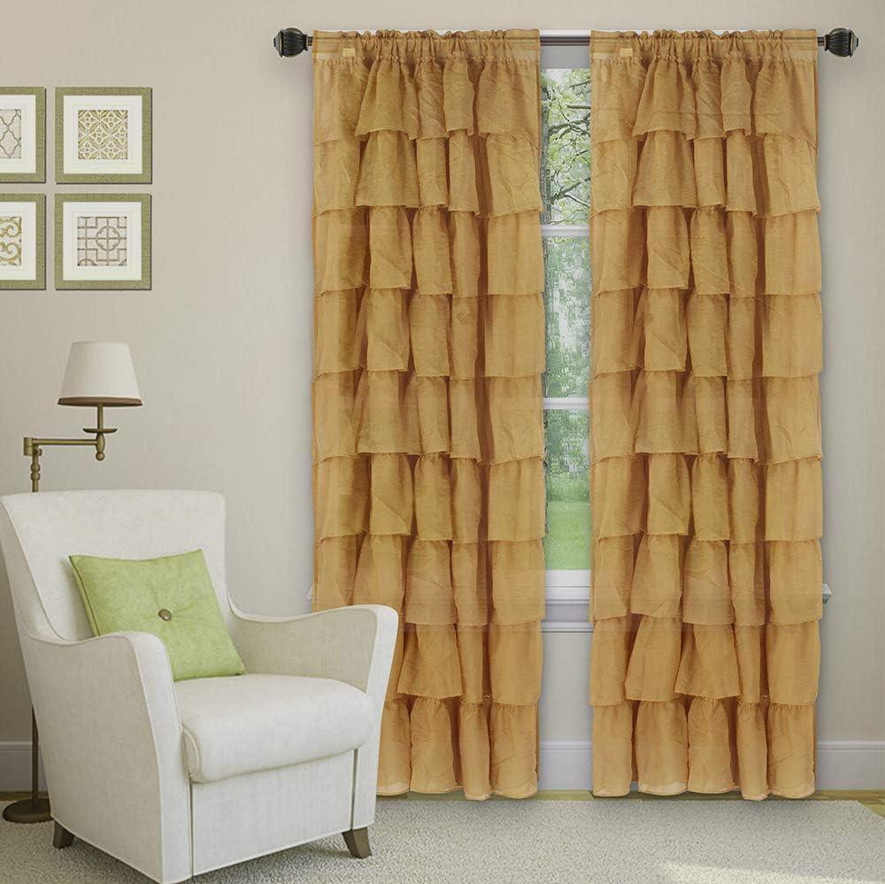 Sapphire Home 2 Panels Crushed Ruffle Sheer Window Curtain Panels 95