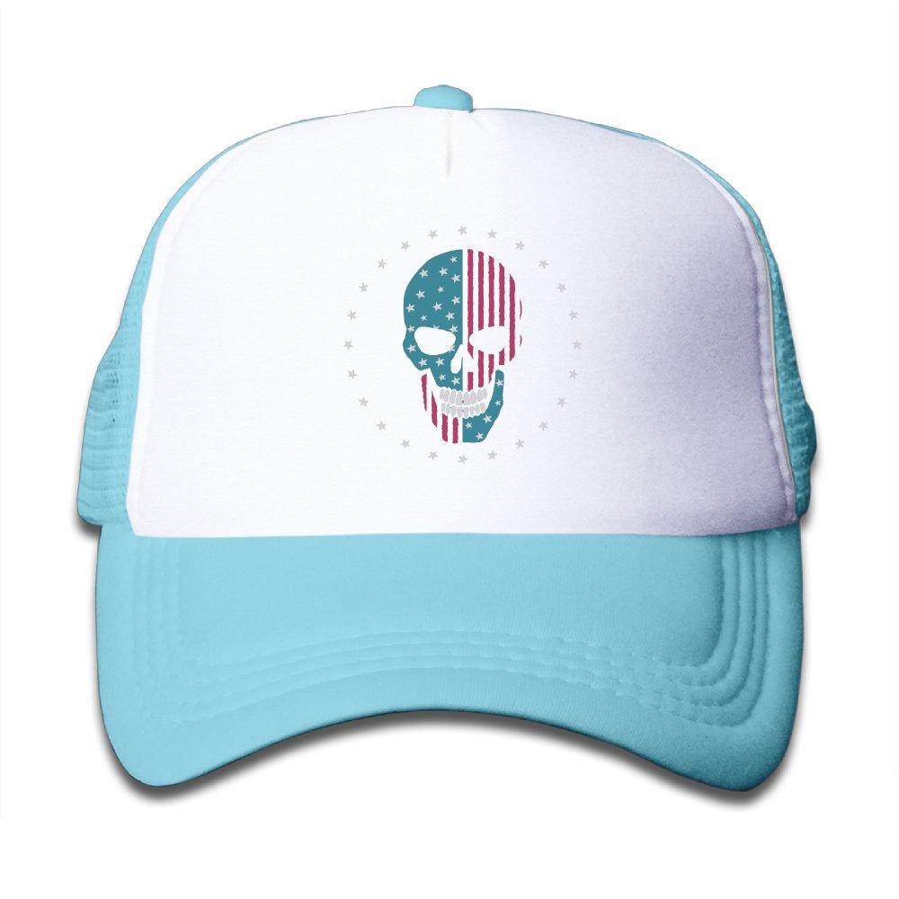 Usieis Kid Cap Skull Like The American Flag Mesh Hat Dad Hat Baseball Caps Adjustable Trucker Cap for Boys/&Girls