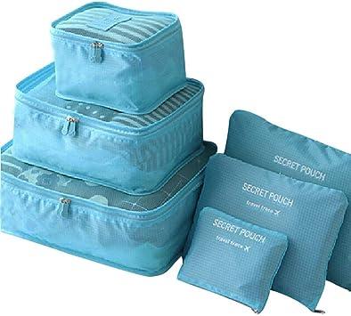 Ogquaton Organisateurs de Voyage Sacs Pochette de Rangement /étanche Poche /à Organisateur de Bagages pour Valise /à Bagages 6 Pcs Bleu