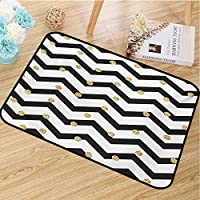 hengshu Chevron Inlet Outdoor Door mat Hand Drawn Style Pattern with Zigzag Lines Horizontal Borders Geometric Catch dust Snow and mud Dark Blue Black White