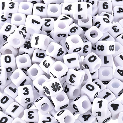 Souarts 300pcs Acrylic-Number-Beads 7x7mm Mixed Number Letter Beads Acrylic Plastic Cube Shape Loose Beads ()