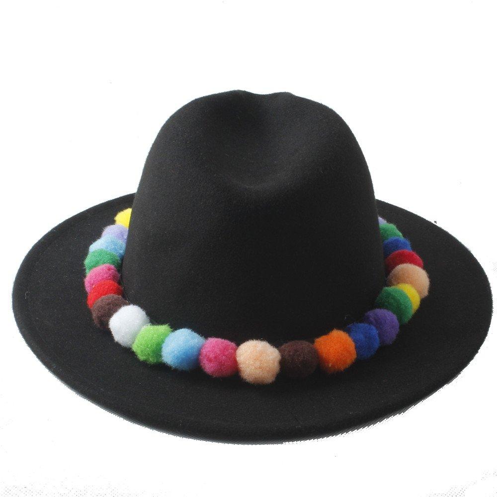 MXL Women Winter Wide Brim Hat Felt Fedora Hat with Cute Colorful Bulb Lady Chapeau Panama Hats Girl Jazz Trilby Gangster Cap