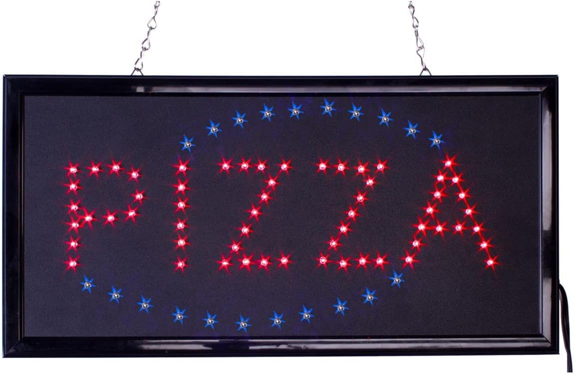 FixtureDisplaysPizza Animated LED Sign with Hanging Chain Red /& Blue 19567! Rectangular