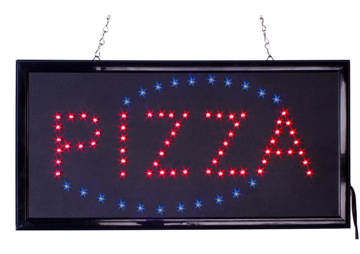 FixtureDisplays ''PIZZA'' Animated LED Sign with Hanging Chain, Rectangular - Red & Blue 19567 by FixtureDisplays