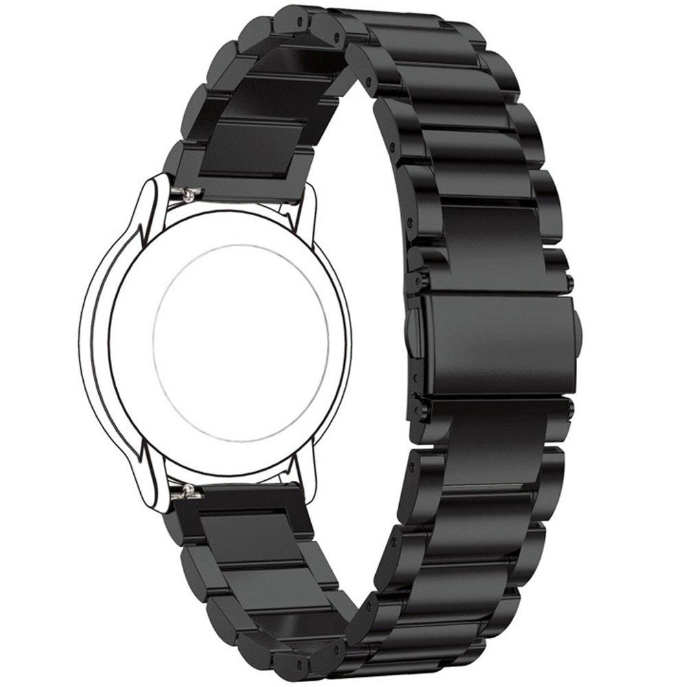Per Amazfit pace fascette metalliche, Ruentech ricambio Premium in acciaio INOX massiccio Smartwatch bande cinghie di metallo bracciali–scelte di colore & larghezza (22mm) -3beads, Black