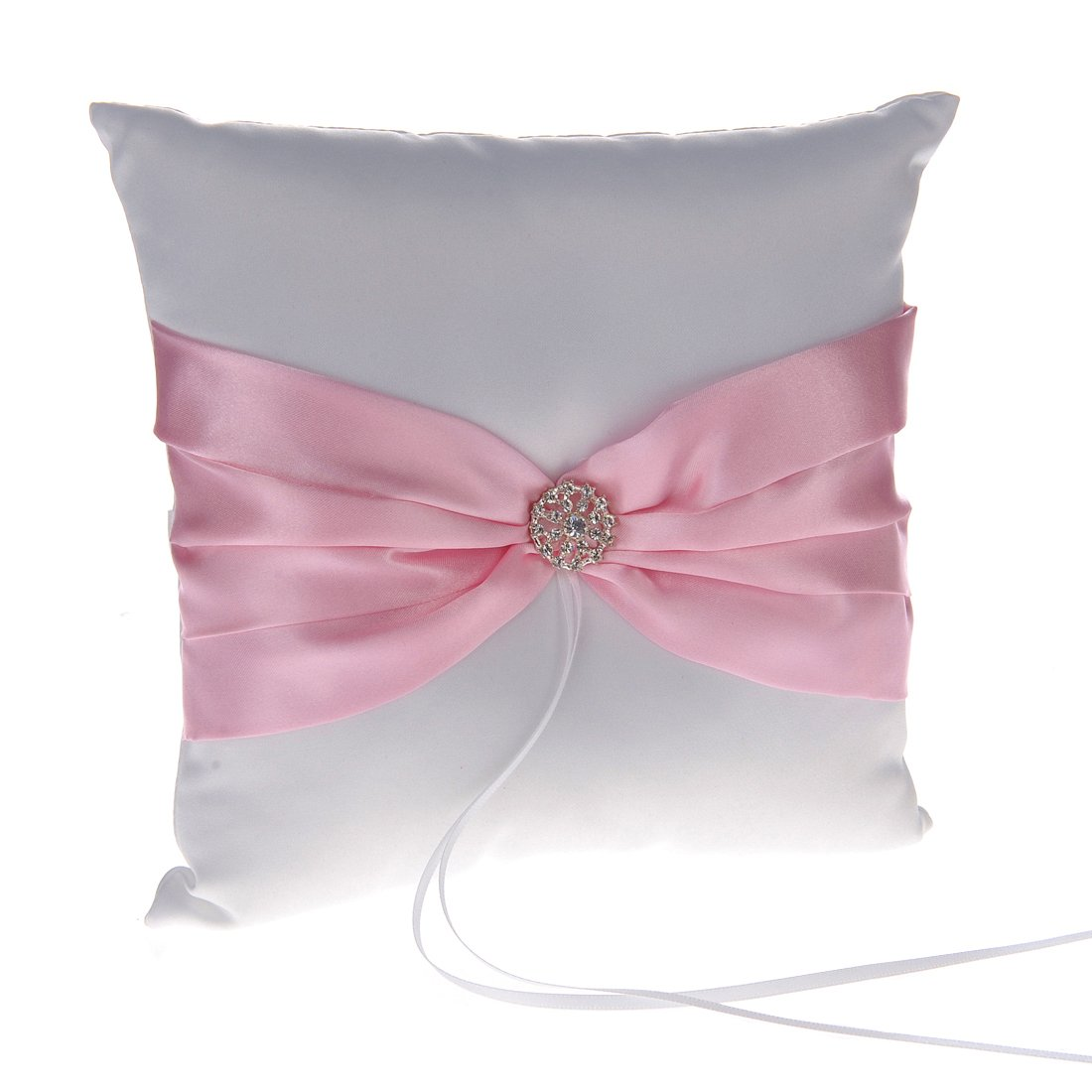 Remedios Pink Ribbon Rhinestone Bearer Pillow Wedding Ring Pillow ...