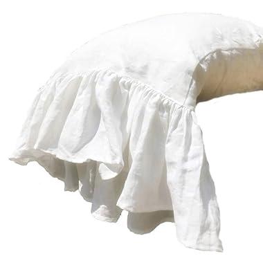 esasilk Ruffles Linen Pillowcase .Pure Flax Pillow Sham 100% French Linen Ruffled Pillow Cover,Standard,Queen,King Size (Queen, White)