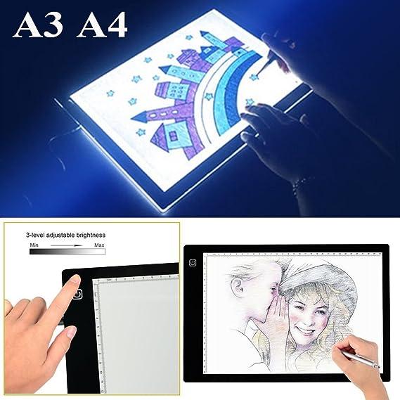 HUION A4 Digitale Zeichenplatte f/ür Grafikkunst mit 17,7 Zoll LED Licht Schwarz und Wei/ß.