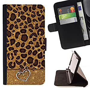 Momo Phone Case / Flip Funda de Cuero Case Cover - Leopard Patrón Corazón animal Piel - Sony Xperia Z5 5.2 Inch (Not for Z5 Premium 5.5 Inch)