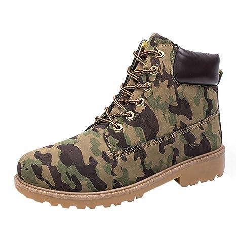 XINANTIME - Botines para hombres Forrado invierno otoño cálido Martin Boots Zapatos (39, Camuflaje