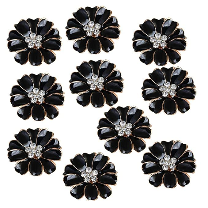 10pcs Metal Crystal Diamante Flower FlatBack Craft DIY Embellishments Black Multi-Purpose Craft Supplies Buttons