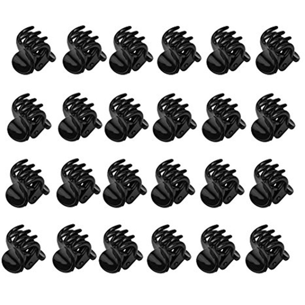 DWE Claw Hair Clips, 24Pcs Black Plastic Mini Hairpin 6 Claws Hair Clip Clamp For Women Ladies Girls