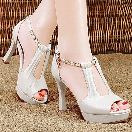 de zapatos verano white grueso mujer de con moda de tacón Jqdyl Zapatos Sandalias Tacones alto Nuevo WEqwZEXY