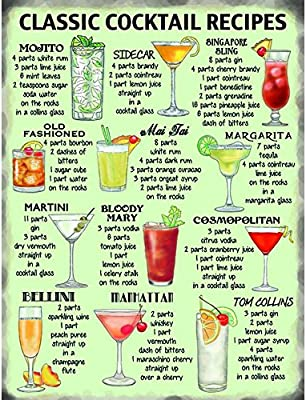 Classic Cocktail Recipes Metal Wall Sign Amazon Com Au Home
