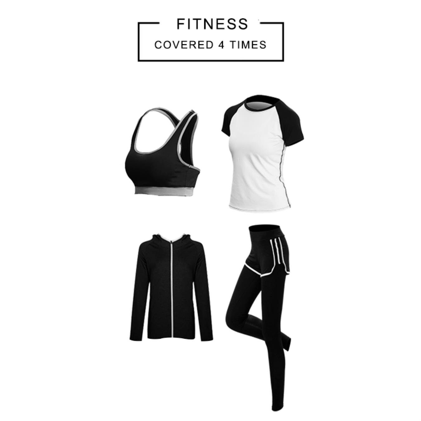 4 Pieces Women Yoga Sets Sports Active Body Slip Running Hooded Tracksuit