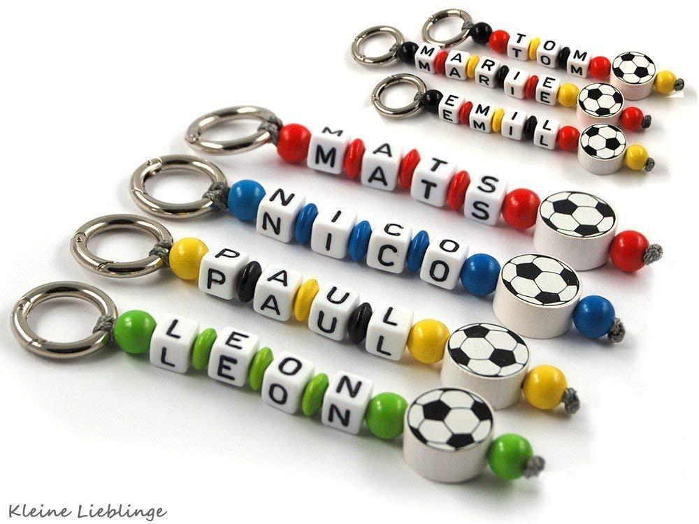 Schlüsselanhänger mit Namen - Kinder - Erwachsene - Taschenbaumler - Fußball - Schlüsselring - GRATIS Versand - verschiedene Farben - Schlüsselanhänger mit Gravur