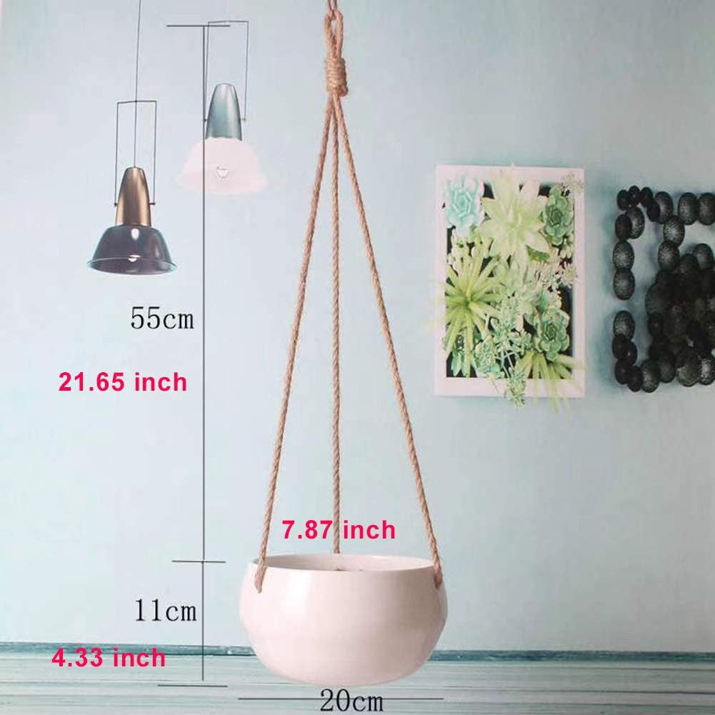 Jyukan Ceramic Hanging Planter with Drainage Holes Modern White Ceramic Hanging Plant Pot with Jute Rope, 7.87 inch