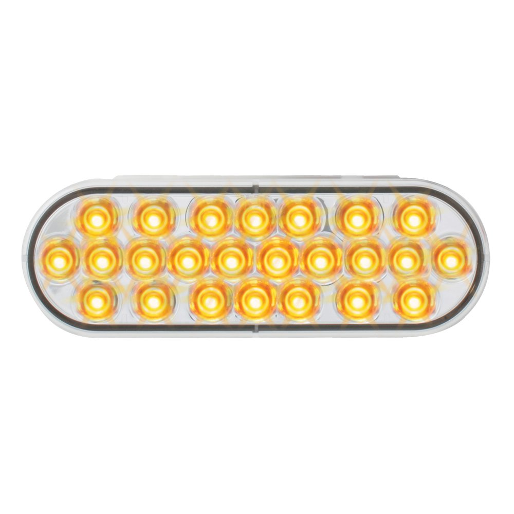 Grand General 76526 Amber 4'' Oval 24 Pearl LED Strobe Light with Clear Lens by GG Grand General