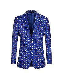 Wenliu Men's Printed Blazer Casual Slim Fit Tuxedos Pattern Coat Printing Suit Jacket