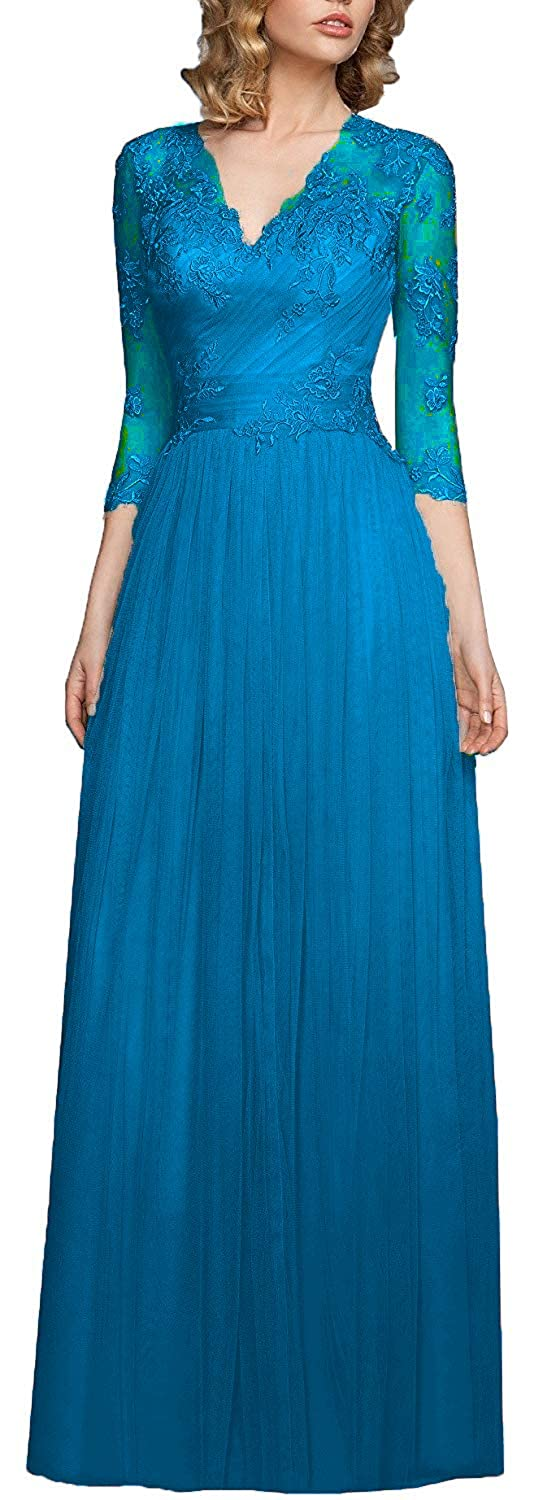 bluee OkayBridal Women's V Neck Tulle Evening Gowns 3 4 Sleeve Appliques Formal Party Gowns Long