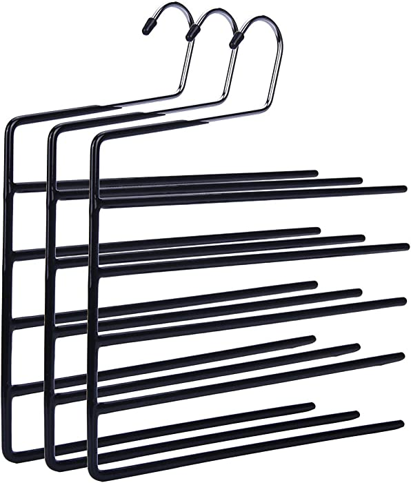 Nature Smile Pants Hangers 3pack - Heavy Duty Multi Layers Metal Pant Slack Hangers,Non-Slip 5-Tier Open-Ended Pants Hanger Closet Storage Organizer for Garden Flags Trousers Jeans Scarf(Upgrades)