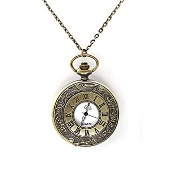 Amazon mifine antique roman pocket watch pendant bronze dial amazon mifine antique roman pocket watch pendant bronze dial open faced roman numerals with chain vintage watches aloadofball Image collections