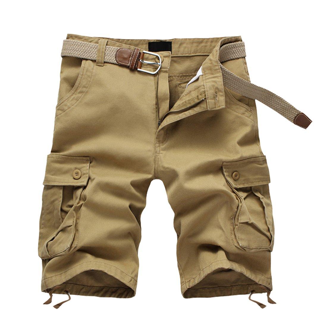 DR. MAのGOTEK Cotton Casual Mens Cargo Shorts Pants Summer Fashion Sports Beach Travel Pockets Camouflage Shorts (Khaki, 42)