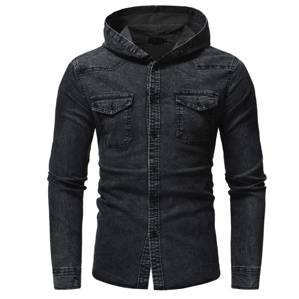 Corriee Men Hoodies Coat Mens Autumn Winter Leisure Hooded Button Demin Tops Classic Daily Demin Coat with Pocket