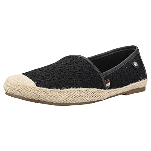 Mustang Embroidered Casual Espadrille Donna Black Tela Scarpe 40 EU