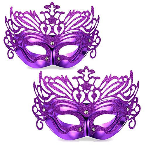 [Vbiger Masquerade Masks Costume Mask Party Venetian Masks For 2ps (Purple)] (Venetian Carnival Masks)