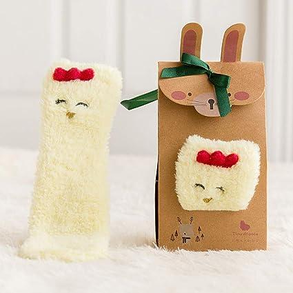 TKHCOLDM Medias de Navidad Infantiles de Lana de Alpaca pequeña, Calcetines Antideslizantes para el Piso