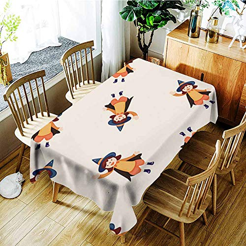 AGONIU Anti-Fading Tablecloths,Halloween Party Costume Cartoon Seamless Pattern Background,Table Cover for Kitchen Dinning Tabletop Decoratio,W60X90L]()
