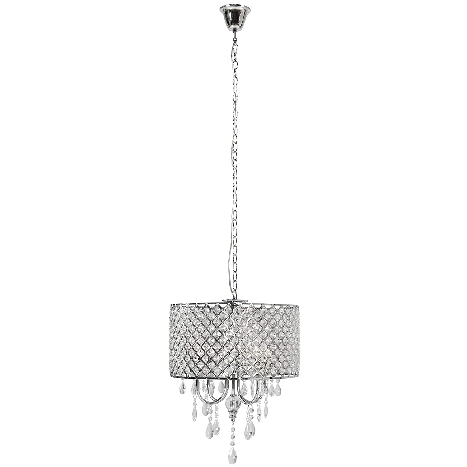 Best Choice Products Hanging 4-Light Crystal Beaded Glass Chandelier Pendant Ceiling Lamp Fixture for Foyer, Dining Room, Restaurant, Hotel, Silver