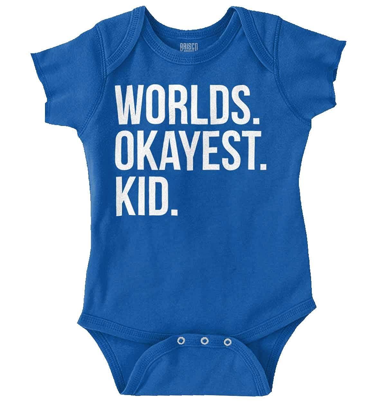 b3408966dccf Amazon.com  Brisco Brands Worlds Okayest Kid Children Best Child Romper  Bodysuit  Clothing