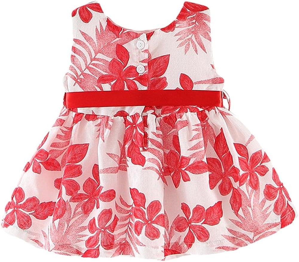 Jojobaby Baby Girls Sleeveless Fresh Leaves Bowknot Sundress Party Dresses