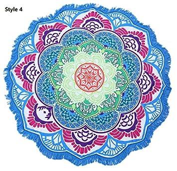 Heylookhere Mandala Print Tassel Redondo Toalla de Playa Toalla de baño Yoga Mat Chal (Estilo 4): Amazon.es: Juguetes y juegos