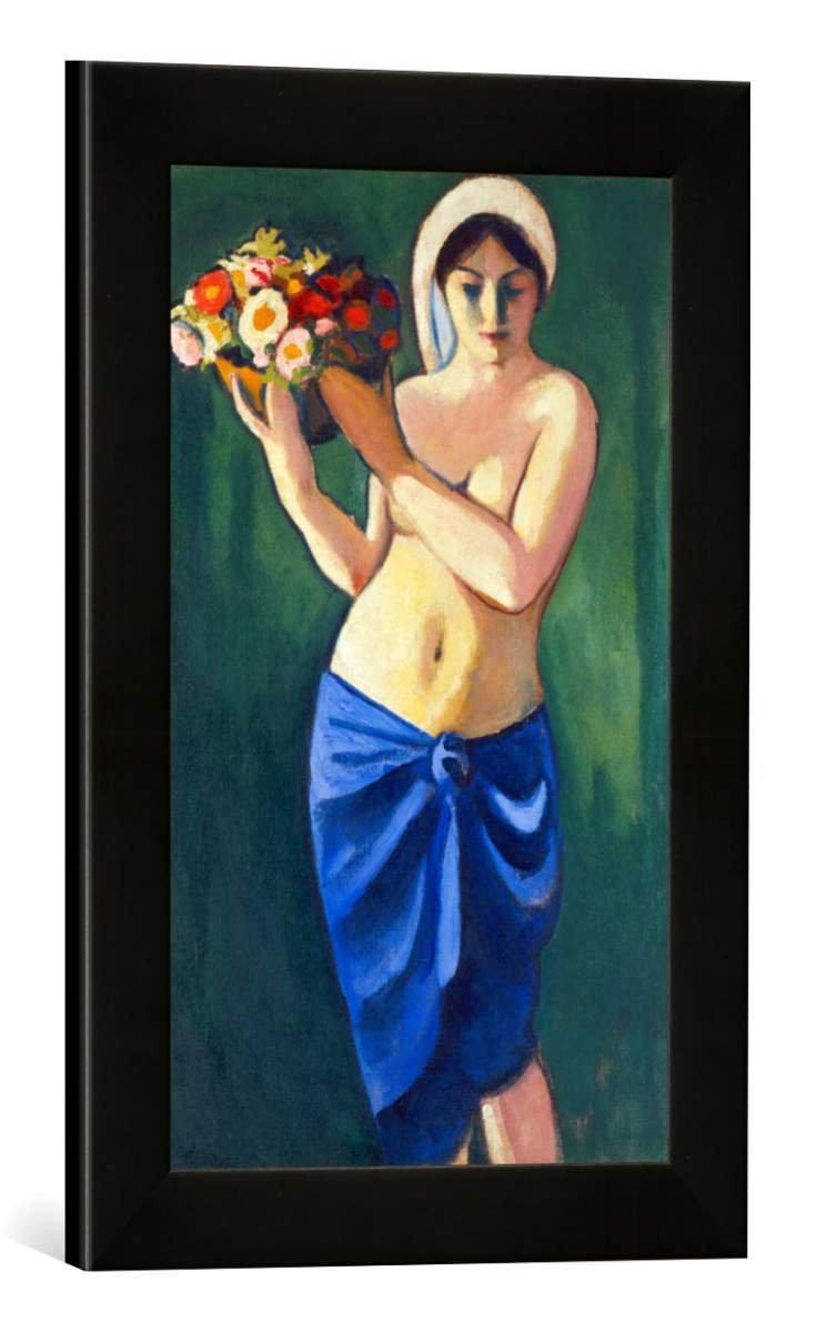 Gerahmtes Bild von August Macke Frau, eine Blumenschale tragend, Kunstdruck im hochwertigen handgefertigten Bilder-Rahmen, 30x40 cm, Schwarz matt