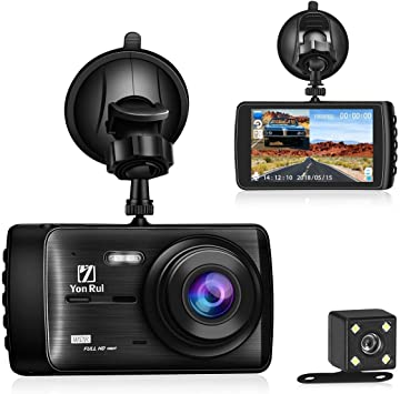 Motion Detection G Sensor Parking Monitor 170 Super Wide Angle Driving Video Recorder with Night Vision Dash Cam Ruidon 1080P HD Dual Channel Dashboard Cameras Front and Rear WDR