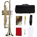 Instrumento de Trompeta Latón, Trompeta Dorada Kit de Trompeta de latón Plano BB estándar con Bolsa de Almacenamiento…