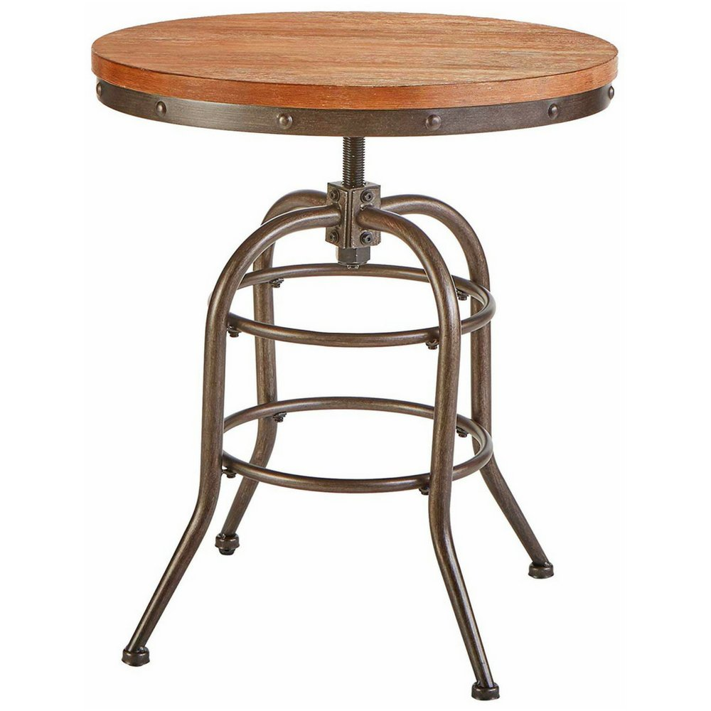 Farmhouse end table wood metal adjustable height circular rustic chic accent table living room foyer entryway bedroom home furniture antiqued black finish