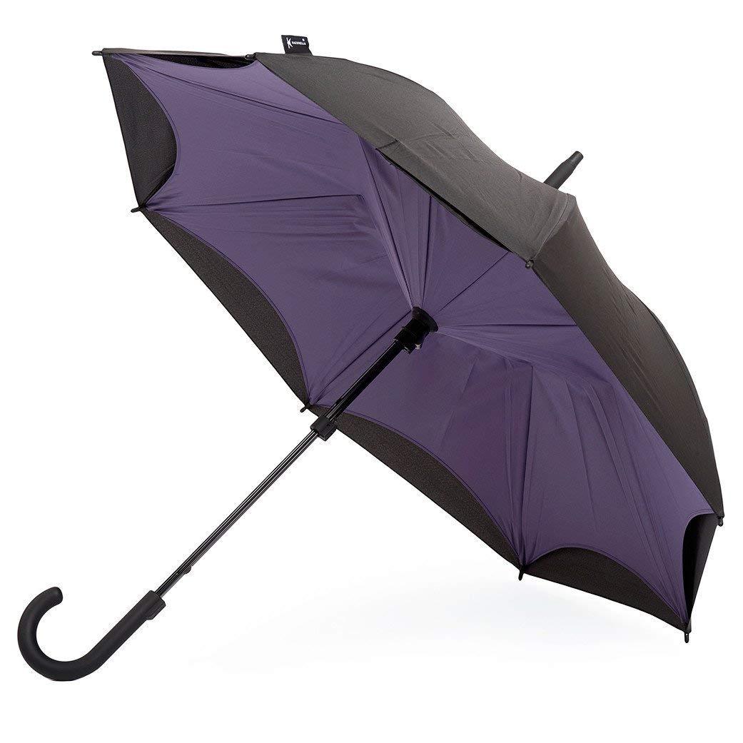 Original Kazbrella The inside out umbrella Reverse Folding Inverted Umbrella Double Layer Wind Proof UV Proof (Purple_Black(Straight Handle))