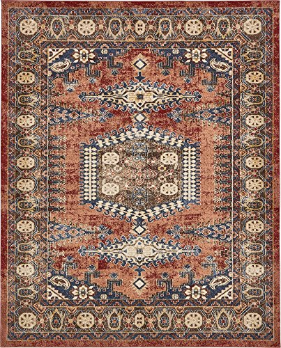 Unique Loom Utopia Collection Traditional Geometric Tribal Warm Tones Terracotta Area Rug (8′ x 10′)