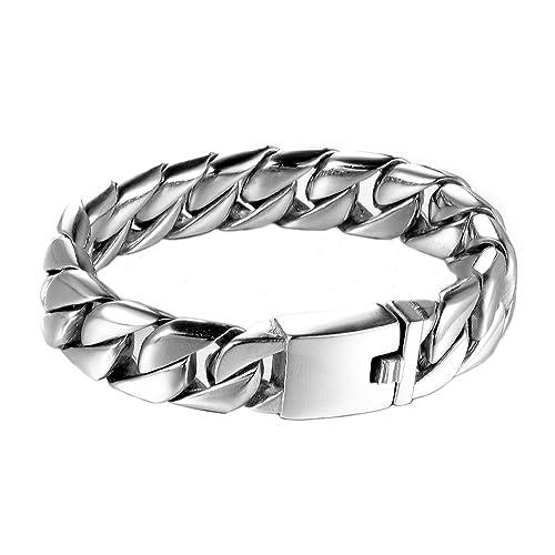 LOPEZ KENT Einfache Dicke Kette Herren Edelstahl Silber Ton Armband  Perfektes Geschenk 304c3127b0
