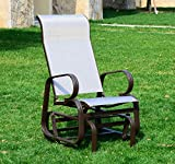 Outsunny Outdoor Mesh Fabric Patio Glider Chair – Brown and Beige
