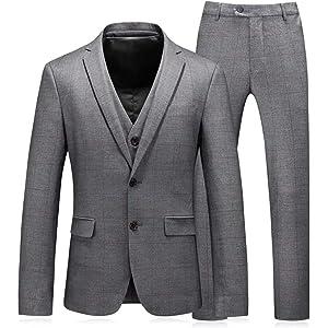WEEN CHARM メンズスーツ セットアップ 3ピース スリム ビジネス 結婚式 チェック柄 紺色